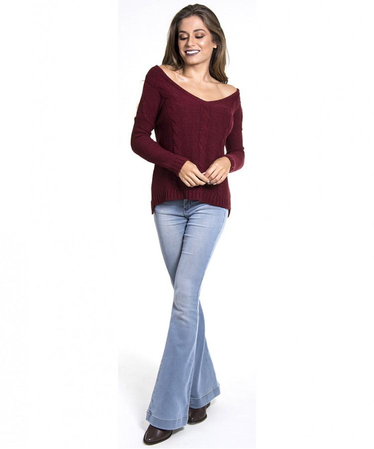 Blusa de tricot feminina trançada