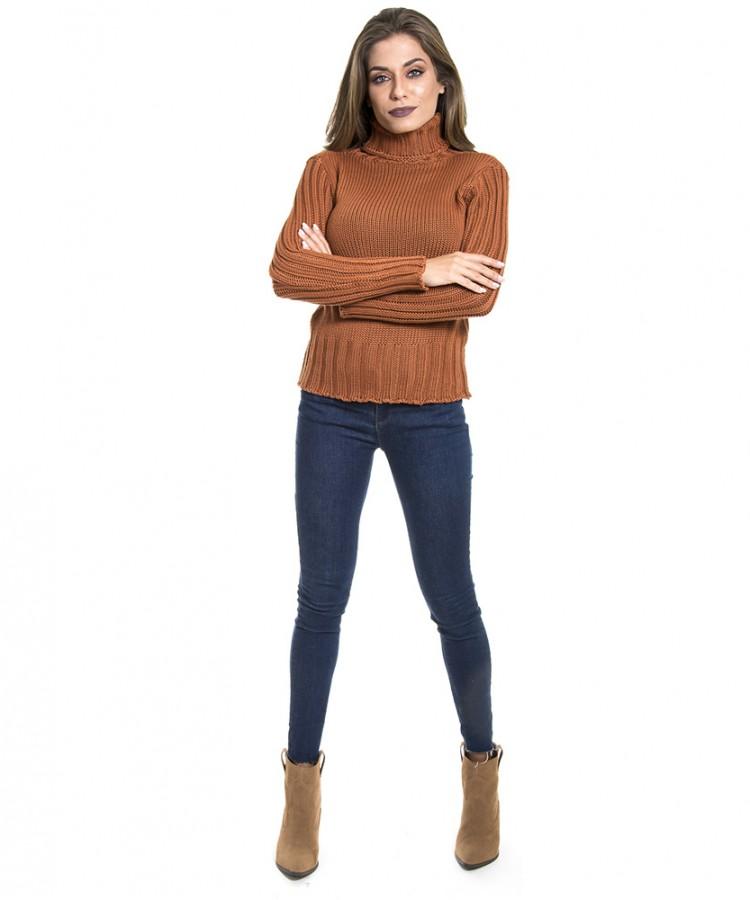 Blusa de tricot feminina Triline com manga canelada