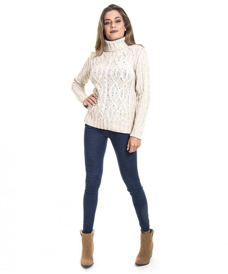 Blusa de tricot feminina retrô frente Aran