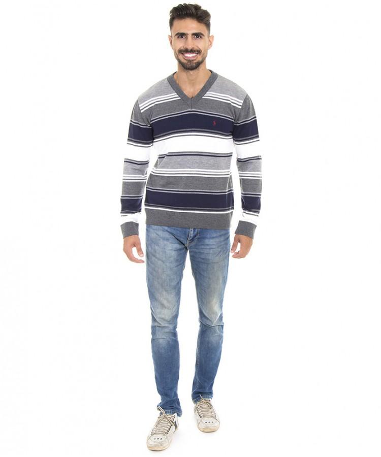 Blusa tricot masculina decote V listrada